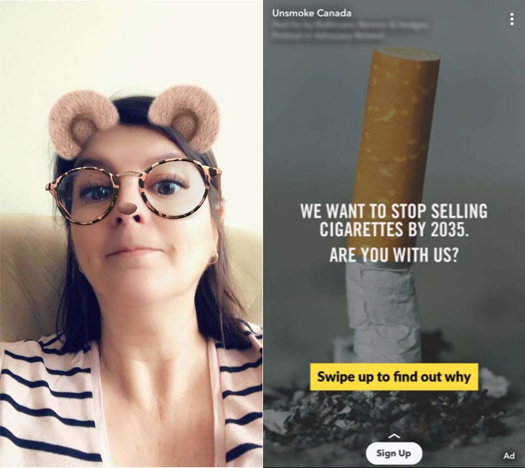 Snapchat filters and ads examples